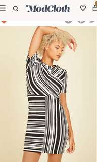 Modcloth Black & White Abstract Pencil Dress Small S 6 8