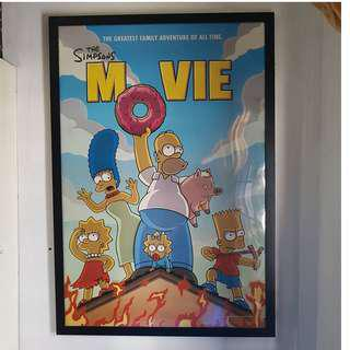 $$ REDUCED [RARE] The Simpsons Movie 2007 Original Double Sided Movie Poster with Black Frame
