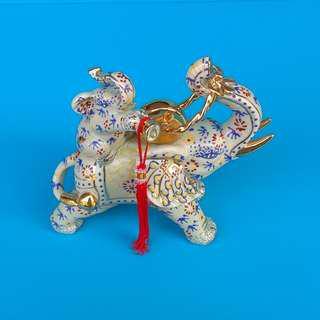 Sculpture Porcelain Ornamental Statue Money Coin Elephant & Baby Figurine Playing Flute Greenish Glaze