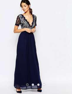 BNWT Navy Blue Lace Scallop Occasion Maxi Dress (UK6)