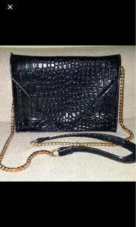 Black Reptile Skin Leather sling bag