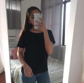 Black Zipback Top