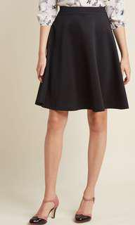 Modcloth En Pointe Accompanist A-Line Skirt in Black Stretch Midi Skirt Small S 8