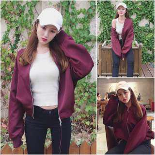 🔥READYSTOCK🔥 Brand New Maroon Jacket with Silver Ring