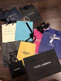 Various branded paper bag