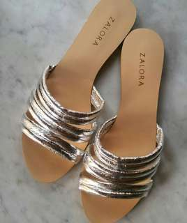 Zalora Metallic Stripe Sliders