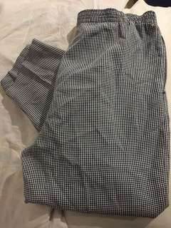 gingham black and white pants