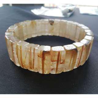 天然金絲鈦晶手排 17mm 鈦晶 板鈦 招財 興旺