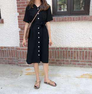 •INSTOCK• Ulzzang black buttoned down Maxi length dress