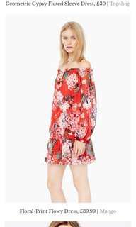 Preloved Mango floral print float dress