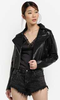 Something Borrowed Studded Cropped Biker Jacket