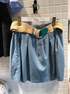 棉麻花苞短褲裙(2色)☻