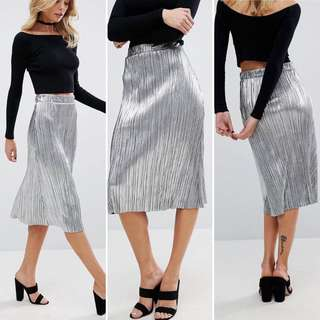 Metallic Silver Pleat Midi Skirt