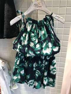 熱帶印花削肩套裝(2色)☻