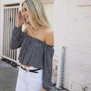 BNWOT brandy melville navy floral off shoulder maura top