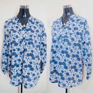 White and blue floral longsleeve top