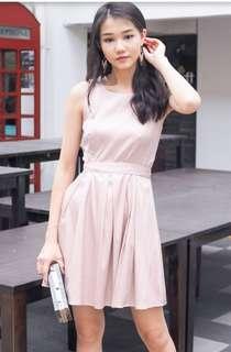 Yoko Shimmery Festive Waist Tie Dress in Dust Pink
