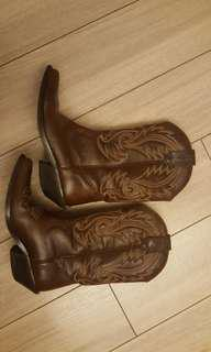 Cowboy texas brown leather boots size 38