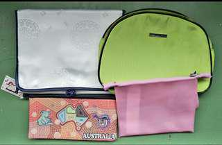 Bundle of pouches:1. Kenneth Cole(green)used/Austraila pen case(new)/Cotton On Pink silicon pouch(new)/Shangrila organizer