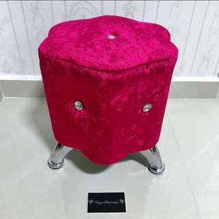 BN Luxury Velvet Crystal Stool Chair.