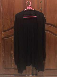 Black Open Front Cardigan / Outer