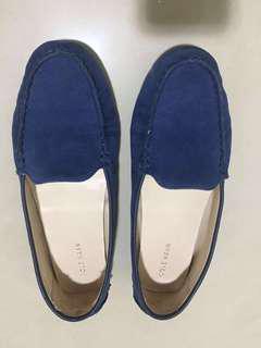 🚚 2⃣️✋🏻Cole Haan寶藍色麂皮平底豆豆鞋