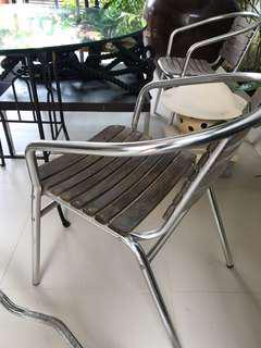 Aluminium wood chairs pair
