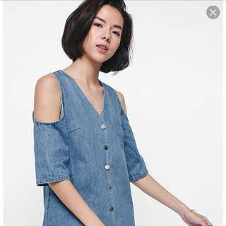 Love Bonito Dreana Cutout Shoulder Raw Hem Dress M