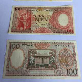 Uang Kuno pecahan 100 tahun 1958
