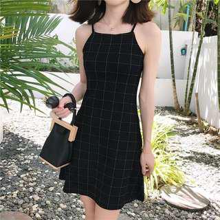 •PO• Ulzzang Korean Black Grid Dress