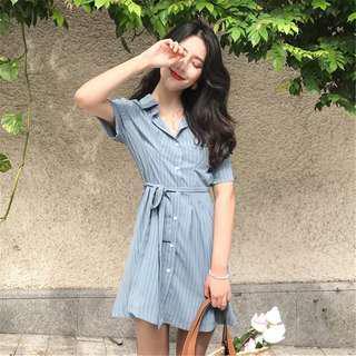 •PO• Polo buttoned waist stripes dress