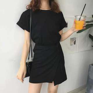 •PO• Black korea Short irregular dress