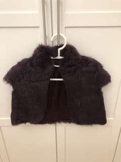 深紫色兔毛外套 (90% new)