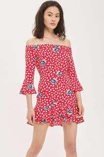 Topshop Bardot Floral Frill Dress Size US 4