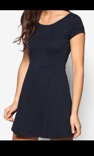 Cotton On Billie Cap Sleeve Skater Dress in Black