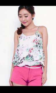 Dear Laura watercolour floral layered tiered hem camisole top