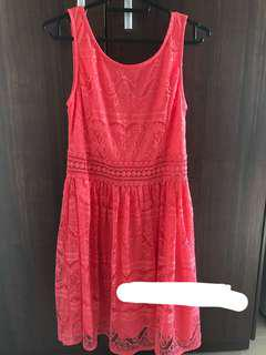 Forever 21 pink dress with crotchet lace detail