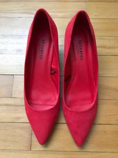 Red Faux Suede Kitten Heels - Size 9