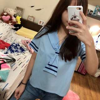 Korean Blue Sailor Top