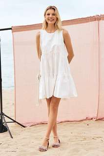 🚚 bnip bnwot tcl the closet lover lorene babydoll tiered dress in white