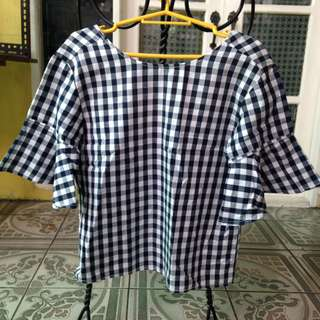 Blue White Checkered Top