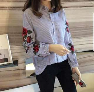 🌹🌹(S~5XL) Long Sleeves Shirt With Embroidery Rose Flower Petal Red Prints Stripes With Stripes