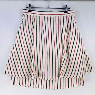 Piper Double Layer Skirt Size 10 A Line Flared Pleat White Blue Red Stripe