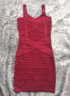 Size 4-6 Sparkly Red Bandage Style Red Mini Clubbing Party Dress