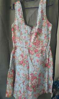 Denim Flowery Dress