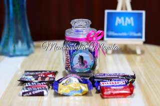 Candy Jar with chocolates - giveaways souvenirs for birthdays, debut, wedding, baptism, etc