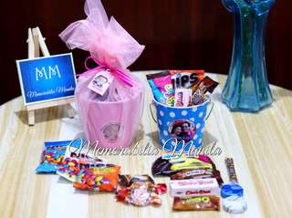 Colored pail - giveaway souvenir for birthday, debut, wedding, party, etc