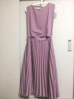 全新修腰淺紫色連身裙 elegant purple dress