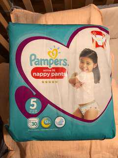 Pampers premium active fit nappy pants size 5. 11-18kg. 30 nappies