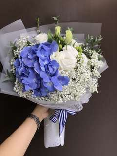 Blue Hydrangea, white Eustoma, Baby Breath Bouquet